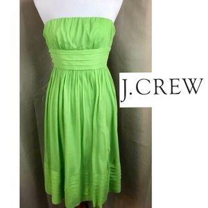 J Crew Lime Green 100% Silk Strapless Sun Dress 8
